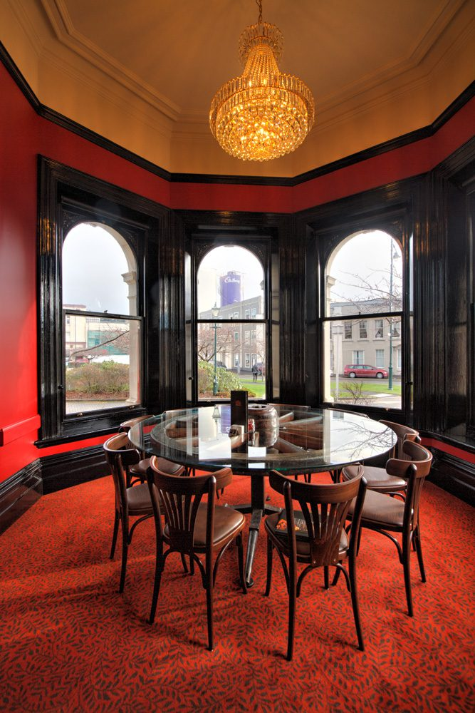 Dunedin Function Room - The turret featuring a table made from wagon wheel