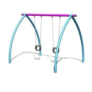 Park Supplies & Playgrounds Curved Leg lullaby Swings Single Bay 3D Design