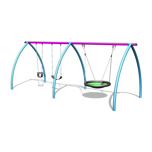Park Supplies & Playgrounds Curved Leg Swings 2 Bay 3D Design