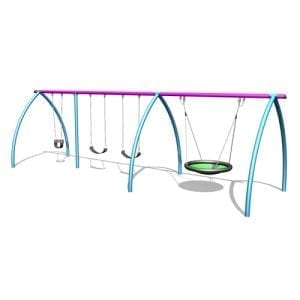 Park Supplies & Playgrounds Curved Leg Swings 3 Bay 3D Design