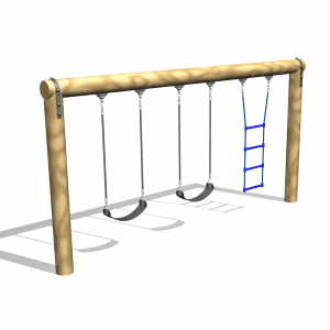 Park Supplies & Playgrounds Timber Pole Swing and Ladder 3D Design