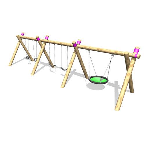 Park Supplies & Playgrounds Timber A Frame Swings Option 3D Design