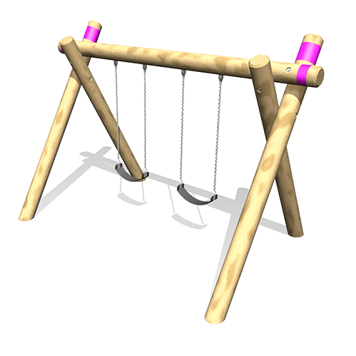 Park Supplies & Playgrounds Timber A Frame Dual Swings Option 3D Design